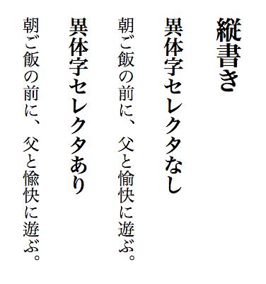 text-orientation を upright と指定した上で、OS X 10.11 上の Google Chrome 48 で異体字セレクタを含む漢字を縦書きの中で出力した例。指定された字形が正しく出力されている。