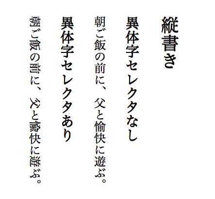 OS X 10.11 上の Safari 9 で異体字セレクタを含む漢字を縦書きの中で出力した例。「朝」などの異体字セレクタがある漢字が90度回転してしまっている。