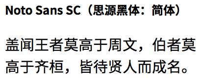 Noto Sans SCフォントの表示例